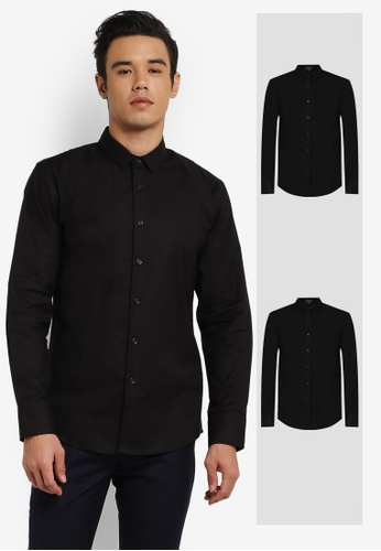 ZALORA black 2 Pack Slim Fit Oxford Long Sleeve Shirt ZA819AA0RO18MY_1
