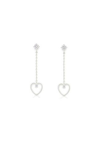 Crystal Korea Fashion silver Korean Heart-shaped Bright Diamond Long Earrings 90E9CACD0A7EF0GS_1