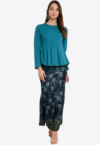 Box Pleat Peplum Kurung from Aqeela Muslimah Wear in Blue