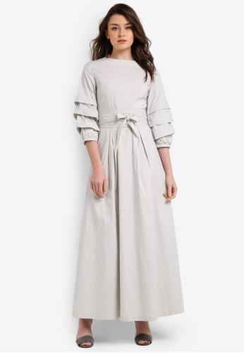 Zalia grey Tiered Sleeve Fit And Flare Dress A2667AAEB710FDGS_1