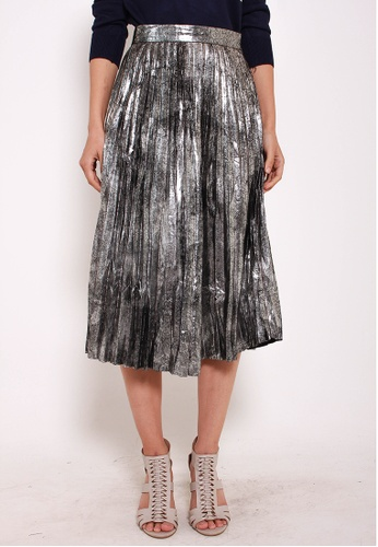 Leline Style grey Melody Metallic Pleats Skirt LE802AA0GOO8SG_1