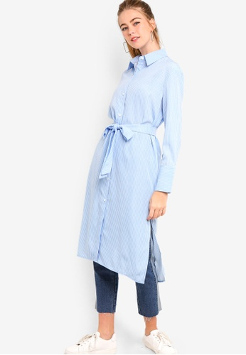 Something Borrowed white and blue Maxi Shirt With Slits And Self Tie 01662AAF628985GS_1