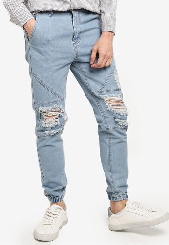 ZALORA BASICS blue Ripped Skinny Denim Joggers 1F722AADCDED8AGS_1