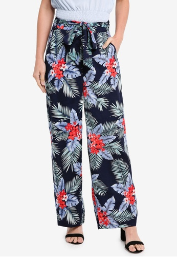 ZALORA navy Wide Leg Pants With Tie 93BE0AABF9AA02GS_1