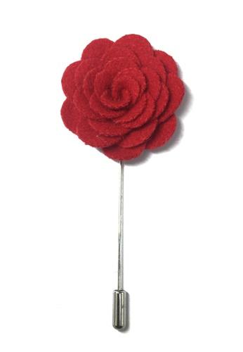 Splice Cufflinks red Red Classic Camellia Fabric Flower Lapel Pin SP744AC50UCVSG_1