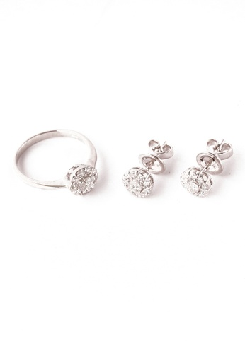 CEBUANA LHUILLIER JEWELRY silver 14 Karat White Gold Earrings And Ring Set With Diamonds DDA89AC9D1F928GS_1