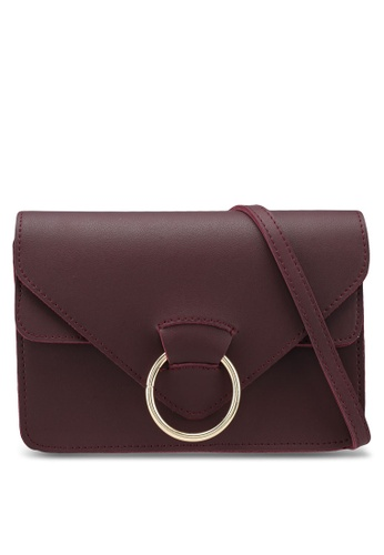 Something Borrowed red Small Sling Bag With Circular Front Detail 3EA75AC2BE83F3GS_1