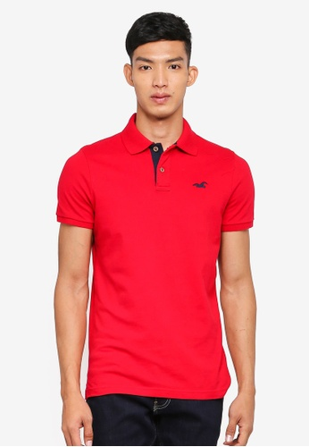 Hollister red Pop Icon Solid Polo Shirt D8A03AA6D9665DGS_1