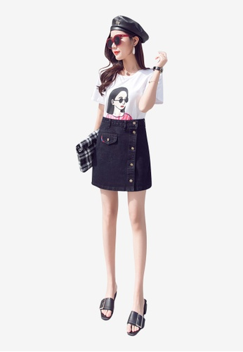 Lara black Women's A-Line Denim Skirt A3011AA2F06CD0GS_1