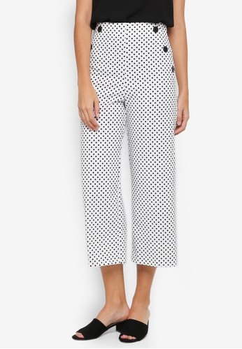 Miss Selfridge white Spot Wide Crop Trousers 2ABEFAA5D07486GS_1
