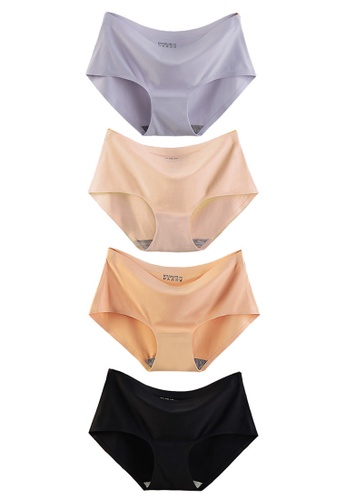 YSoCool black and grey and multi and beige 4-Pack Seamless Invisible Ice Silk Underwear Panties 783D7US0905AFCGS_1