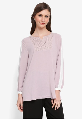 TOPGIRL purple Two Tone Embroidery Blouse CE253AAA8BA094GS_1