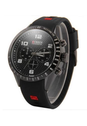curren black Curren 8167 Men's Sporty Rubber Strap Watch (Full Black) CU537AC18SZDMY_1