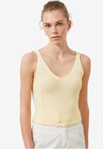 Trendyol yellow Basic Knit Detail Cami Top BAE58AAB652D6CGS_1