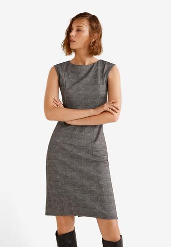 Mango grey Check Pattern Mini Dress D3F29AA36A4295GS_1