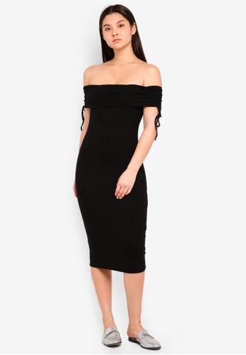 Cotton On black Elise Off The Shoulder Tie Detail Dress CB3F8AA080295CGS_1