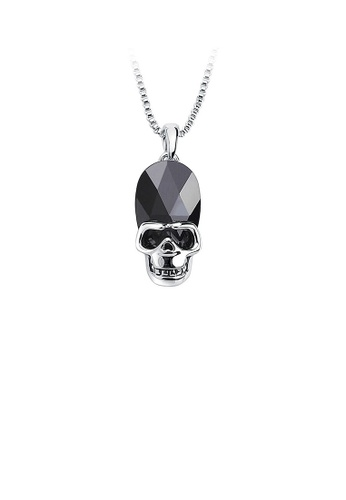 Glamorousky silver Halloween Black Austrian Element Crystal Skull and Crossbones Pendant with Necklace DB645AC7FC99A2GS_1