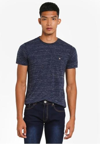 !Solid navy Nicolo Textured Pocket T-Shirt 0339CAA8C5C70AGS_1