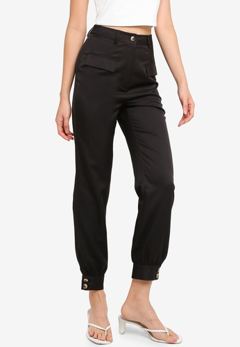 ZALORA BASICS black Cuff Hem Trousers 3FA5EAA1981FFFGS_1