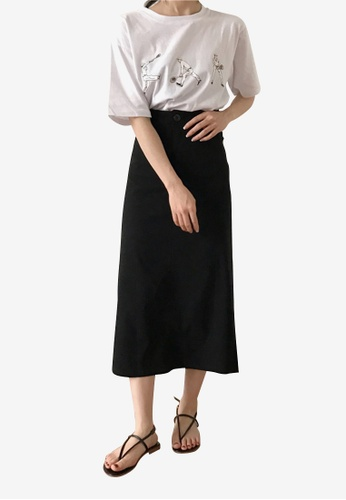 Lara black Women's Slit Skirt E593EAAD3395E1GS_1