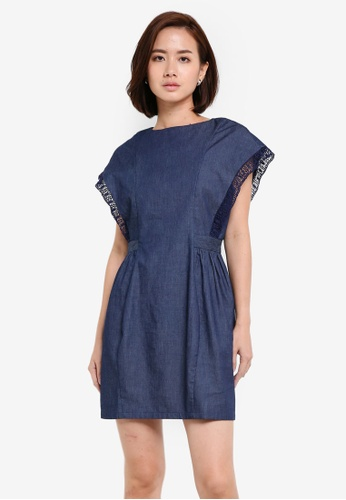 ZALORA blue Lace Detail Sleeve Blouson Dress A7300AAD029179GS_1
