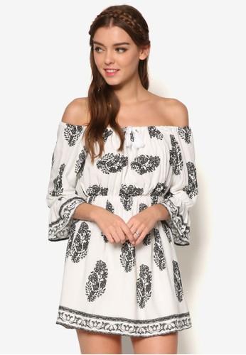 寬領zalora 包包評價荷葉七分袖小洋裝, 服飾, 印花時代