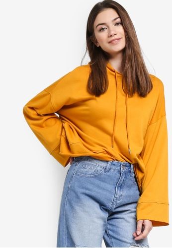 Something Borrowed yellow Wide Sleeves Cropped Hoodie 20B97AAF493E38GS_1