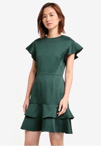 ZALORA green Double Layered Flute Hem Dress ADDB2AA1B4F1F9GS_1