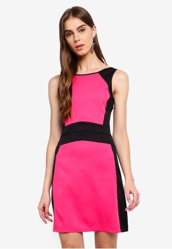 ZALORA 黑色 and 粉紅色 撞色無袖V領洋裝 9BFFEAAD553D7CGS_1