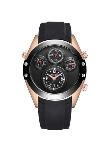 curren black and gold Curren 8141 Men's Fashion Rubber Strap Classic Watch (Gold Black) CU537AC74TCNMY_1