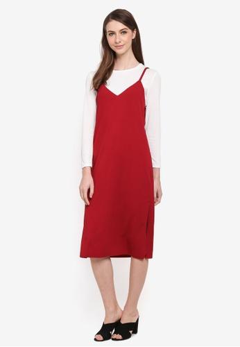 BYN red Korean Style 2-in-1 Dress Set 97163AAAAB757FGS_1