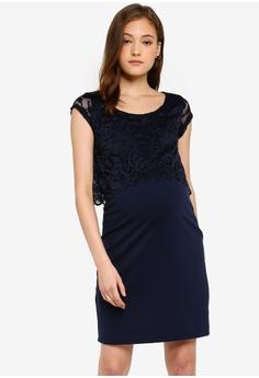 706bf21a179 Mama.licious navy Nursing Blackie Lace June Cap Dress 3D1D5AAB0AA620GS_1