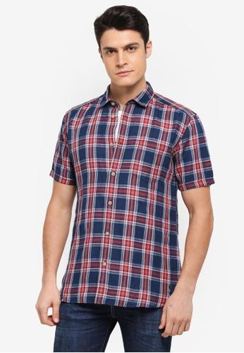 ESPRIT navy Woven Short Sleeve Shirt C810AAA42D61FAGS_1