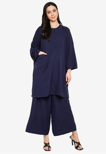 Butik Sireh Pinang blue Mawar Blouse Loose Pocket Suit D908CAAA8F2150GS_1