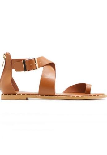 Deraine Shoes brown Deraine Cross Vamp Sandals (Brown) DE489SH78SRTMY_1