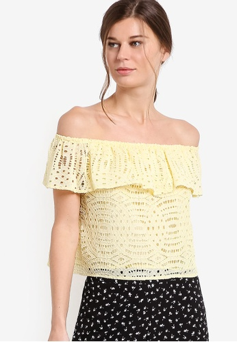 Dorothy Perkins yellow Yellow Bardot Top DO816AA11HNWMY_1