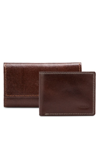 Pride brown Pure leather men's wallet set PR075AC40YHNMY_1