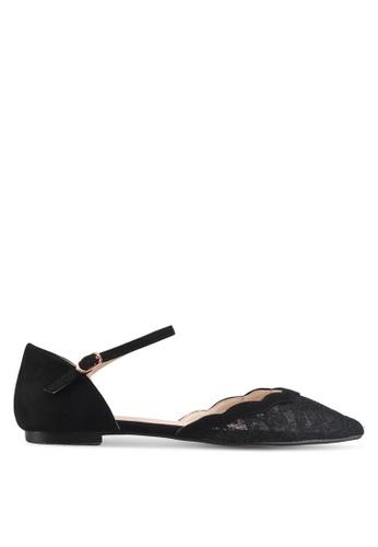 Velvet black Lace Ballet Flats 675D2SH1FF5349GS_1