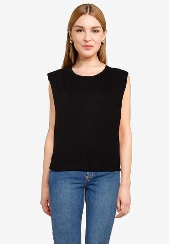 UniqTee black Sleeveless Top with Elastic Waistband 870D2AAD974D33GS_1