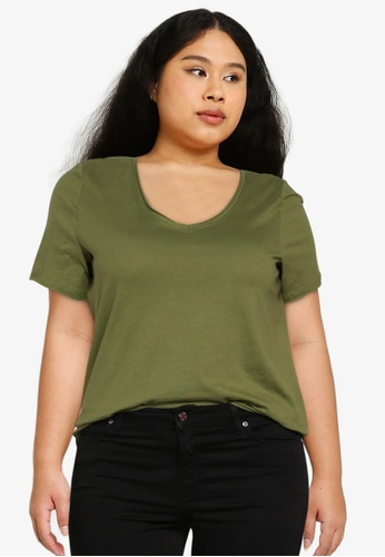 Only CARMAKOMA green Plus Size Bonnie Life Short Sleeves V-neck Tee 83011AA539F79AGS_1