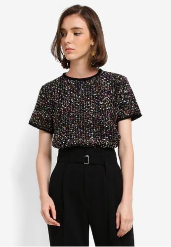 Mango black Tweed Contrasting T-Shirt 54DEBAA387E9F4GS_1