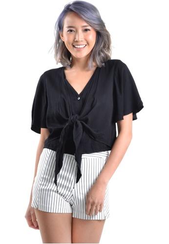 Kitschen black Basic Short-Sleeves Wrap Top E1238AA92ED972GS_1