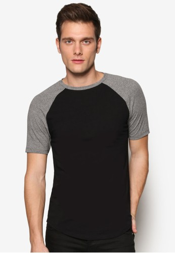 對比色插肩貼身圓領短袖TEE, 服飾zalora taiwan 時尚購物網, 服飾