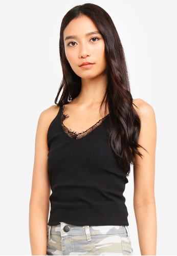 Cotton On black The Lace Trim V Neck Tank 5355FAAF5DD006GS_1