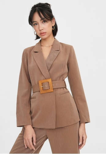 Pomelo brown Squared Weave Belt Brazer - Brown 3172EAA4870D34GS_1