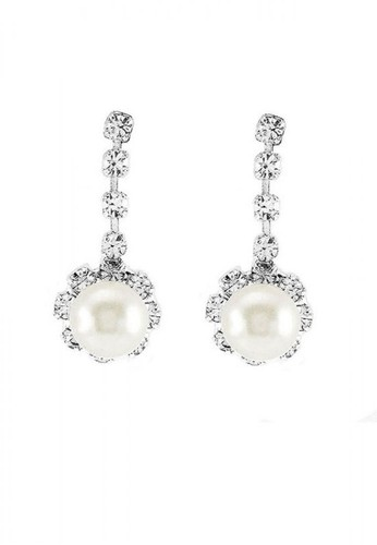 Glamorousky silver Glimmering Fashion Pearl Earrings with Silver Austrian Element Crystal F29F7AC431B153GS_1
