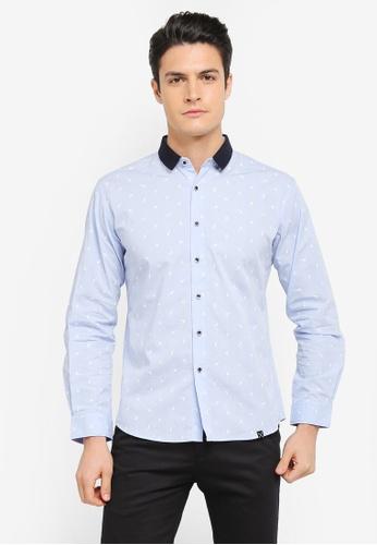 JAXON blue Small Motif Long Sleeves Shirt C25FDAA8161560GS_1