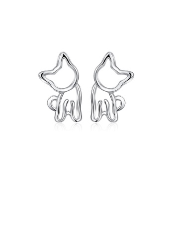 Glamorousky silver 925 Sterling Silver Simple and Cute Hollow Cat Stud Earrings 2C506AC8859377GS_1