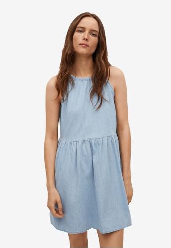 Mango blue Frill Cotton Dress BF5A1AA3D6266CGS_1