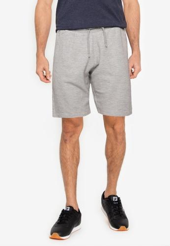 !Solid grey Basic Sweat Shorts E8B1EAA4E9A68FGS_1